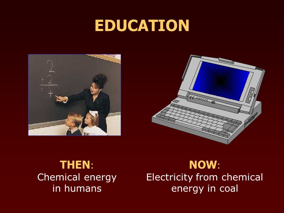 THEN : Chemical energy in humans NOW : Electricity from chemical energy in coal EDUCATION