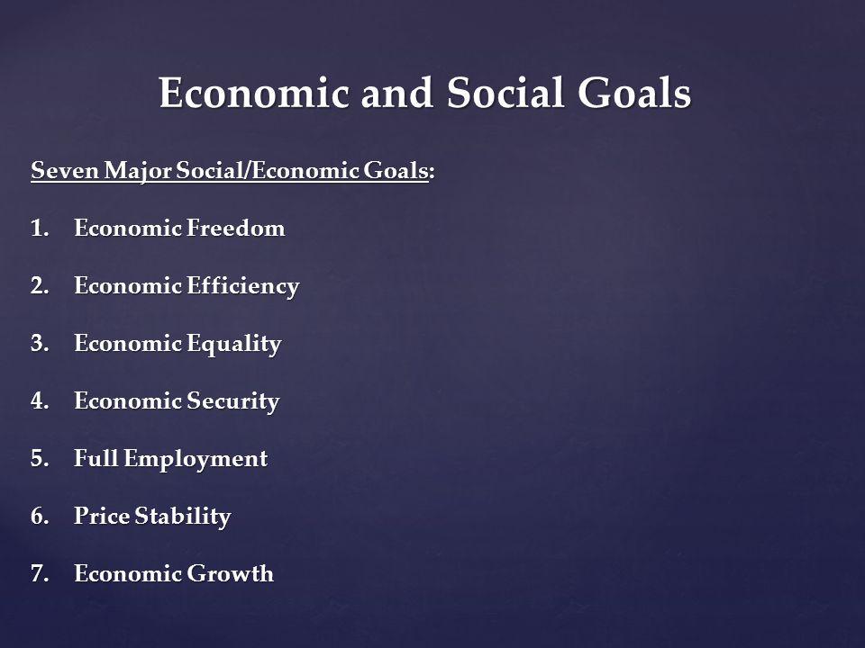 Economic and Social Goals Seven Major Social/Economic Goals: 1.Economic Freedom 2.Economic Efficiency 3.Economic Equality 4.Economic Security 5.Full E