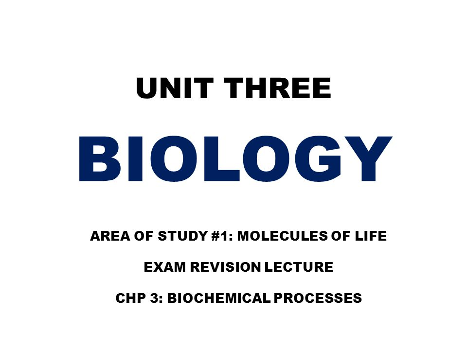 UNIT THREE BIOLOGY AREA OF STUDY #1: MOLECULES OF LIFE EXAM REVISION LECTURE CHP 3: BIOCHEMICAL PROCESSES