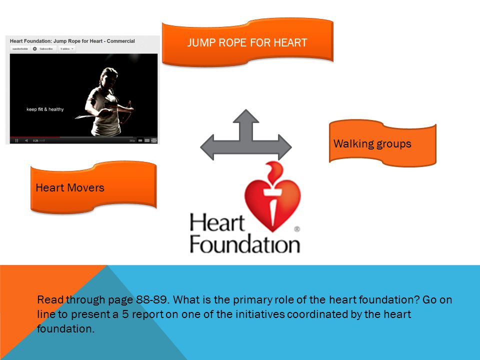 JUMP ROPE FOR HEART Heart Movers Walking groups Read through page 88-89.