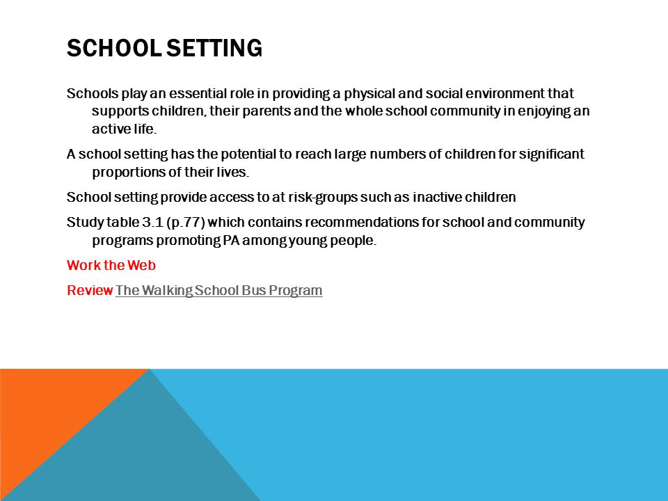SCHOOL SETTING Schools play an essential role in providing a physical and social environment that supports children, their parents and the whole school community in enjoying an active life.
