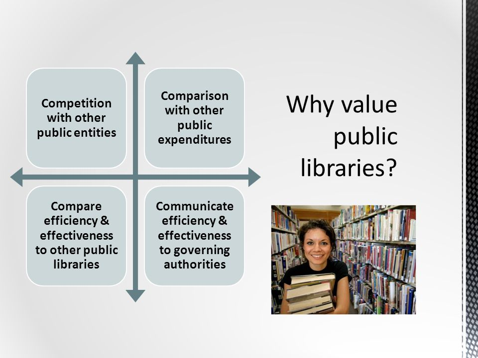 Competition with other public entities Comparison with other public expenditures Compare efficiency & effectiveness to other public libraries Communicate efficiency & effectiveness to governing authorities