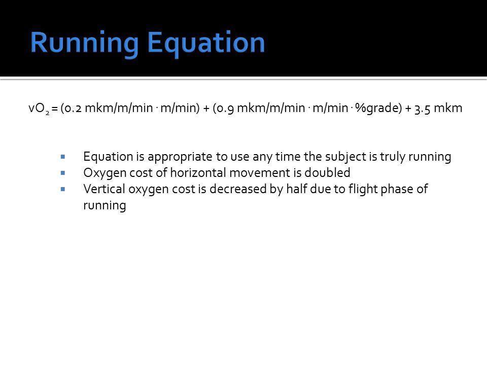 vO 2 = (0.2 mkm/m/min. m/min) + (0.9 mkm/m/min. m/min.