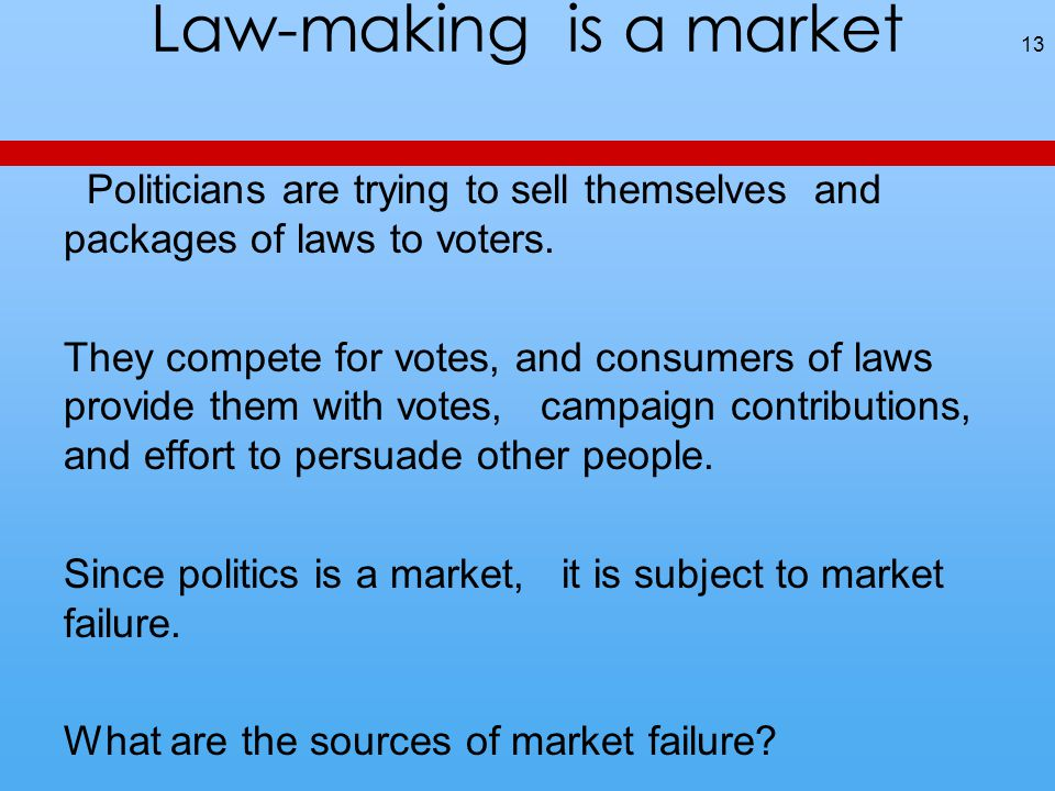 Law-making is a market Politicians are trying to sell themselves and packages of laws to voters.