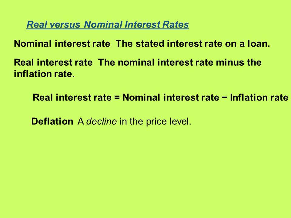 Real versus Nominal Interest Rates Nominal interest rate The stated interest rate on a loan. Real interest rate The nominal interest rate minus the in