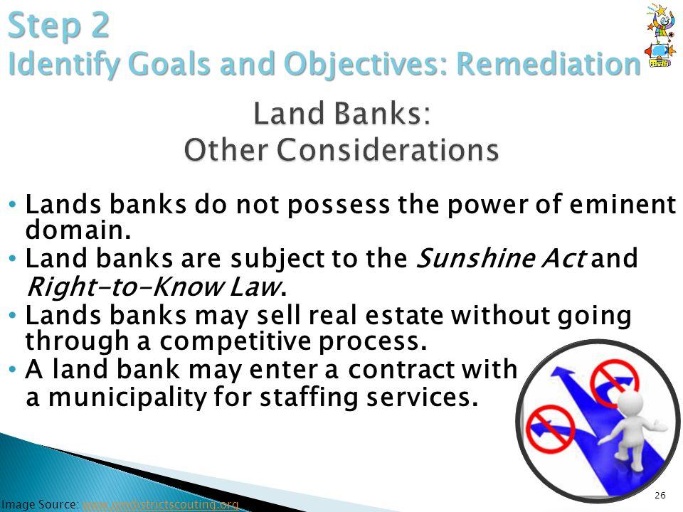 Lands banks do not possess the power of eminent domain.