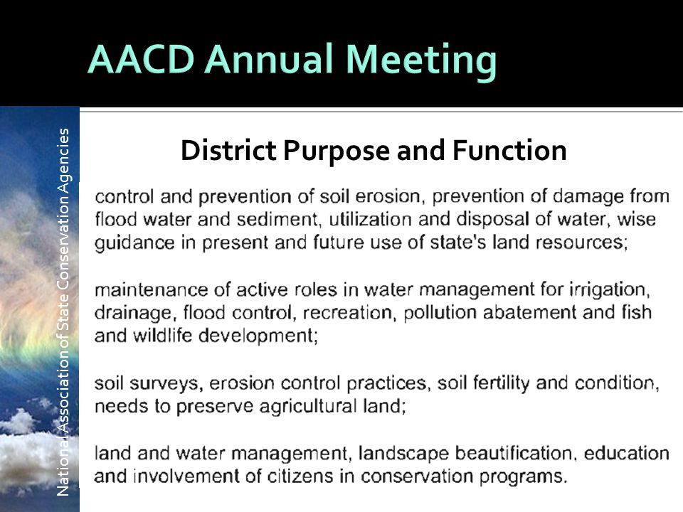 National Association of State Conservation Agencies District Purpose and Function