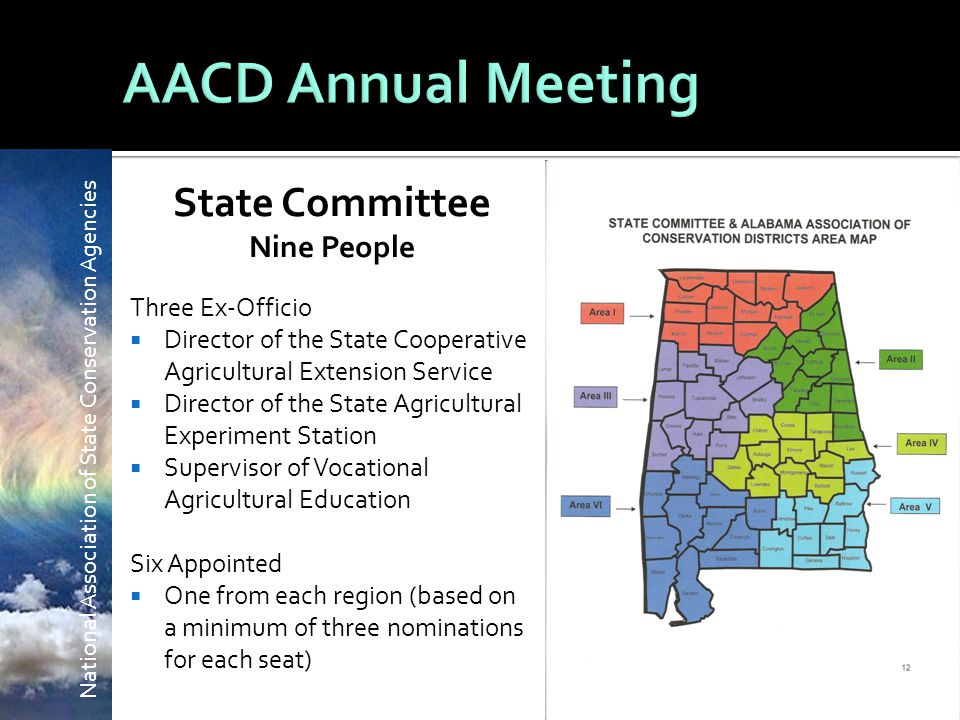 National Association of State Conservation Agencies State Committee Nine People Three Ex-Officio  Director of the State Cooperative Agricultural Extension Service  Director of the State Agricultural Experiment Station  Supervisor of Vocational Agricultural Education Six Appointed  One from each region (based on a minimum of three nominations for each seat)