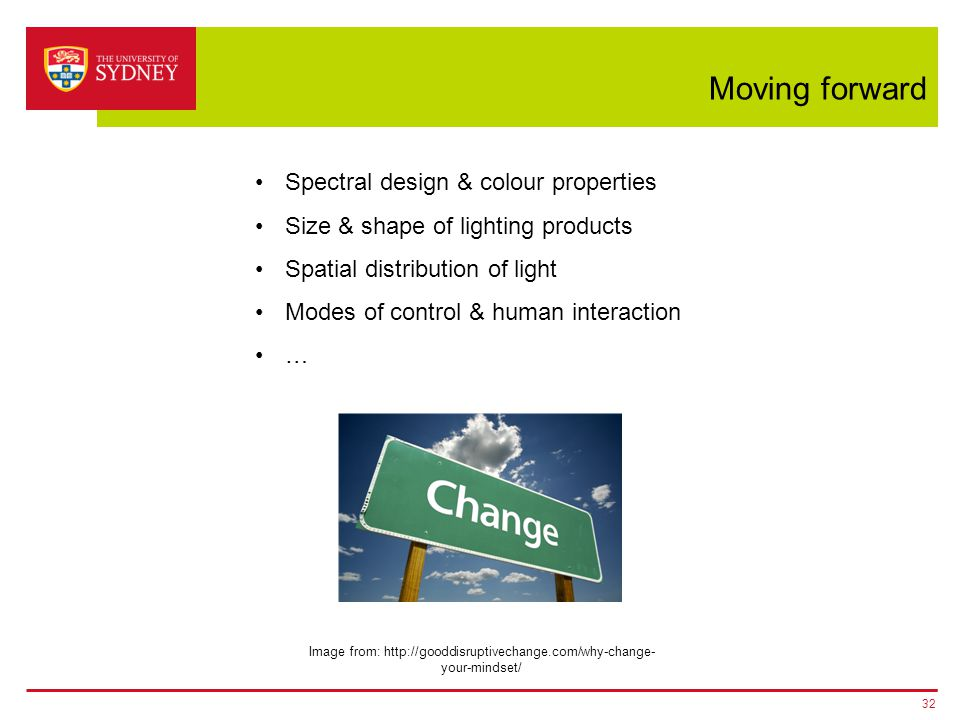 Moving forward 32 Spectral design & colour properties Size & shape of lighting products Spatial distribution of light Modes of control & human interac