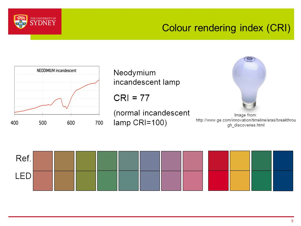 Colour rendering index (CRI) 9 Neodymium incandescent lamp CRI = 77 (normal incandescent lamp CRI=100) Ref. LED Image from: http://www.ge.com/innovati