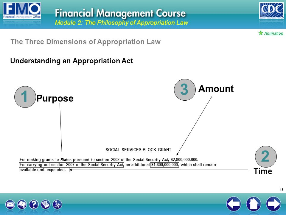 Understanding an Appropriation Act Module 2: The Philosophy of Appropriation Law SOCIAL SERVICES BLOCK GRANT For making grants to States pursuant to s