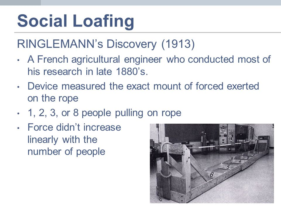 Social Loafing RINGLEMANN's Discovery (1913) A French agricultural engineer who conducted most of his research in late 1880's.