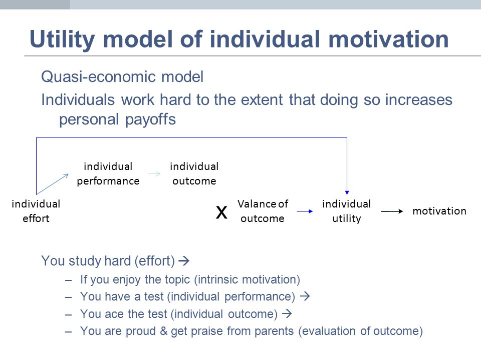 Quasi-economic model Individuals work hard to the extent that doing so increases personal payoffs You study hard (effort)  –If you enjoy the topic (intrinsic motivation) –You have a test (individual performance)  –You ace the test (individual outcome)  –You are proud & get praise from parents (evaluation of outcome) Utility model of individual motivation individual effort individual performance individual outcome motivation individual utility Valance of outcome x