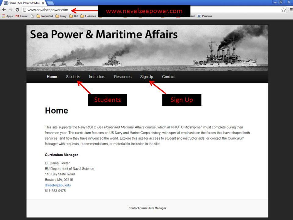 www.navalseapower.com Sign UpStudents