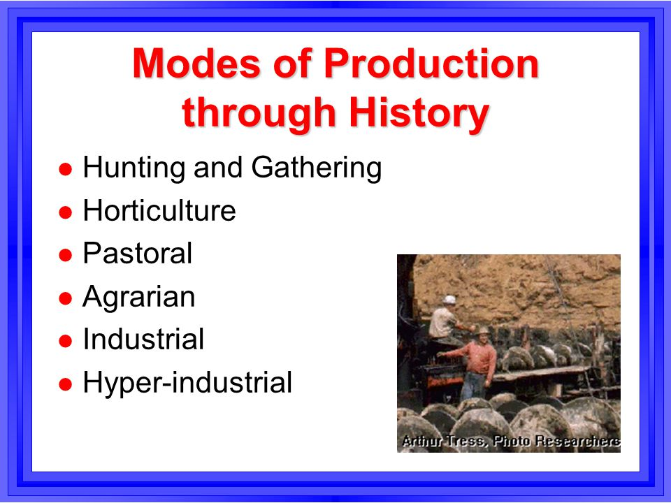 Modes of Production through History l Hunting and Gathering l Horticulture l Pastoral l Agrarian l Industrial l Hyper-industrial