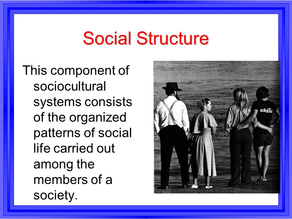 Social Structure This component of sociocultural systems consists of the organized patterns of social life carried out among the members of a society.