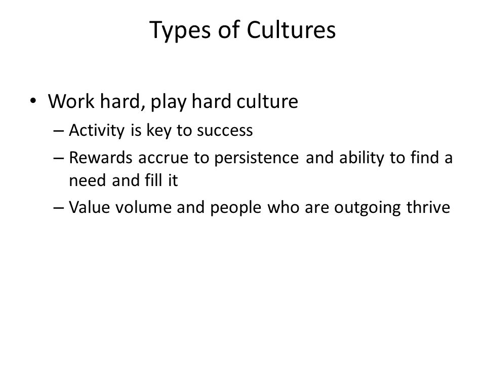 Types of Cultures Work hard, play hard culture – Activity is key to success – Rewards accrue to persistence and ability to find a need and fill it – Value volume and people who are outgoing thrive