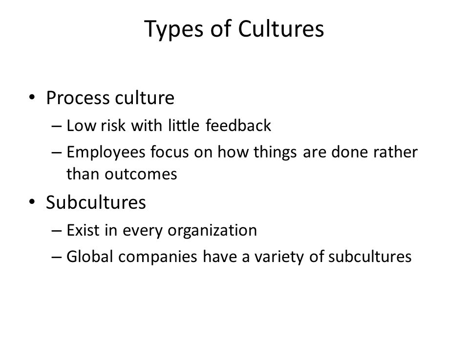 Types of Cultures Process culture – Low risk with little feedback – Employees focus on how things are done rather than outcomes Subcultures – Exist in every organization – Global companies have a variety of subcultures
