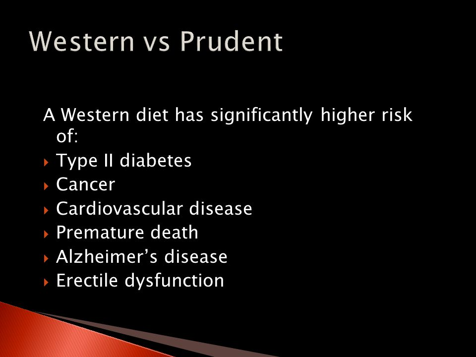 A Western diet has significantly higher risk of:  Type II diabetes  Cancer  Cardiovascular disease  Premature death  Alzheimer's disease  Erectile dysfunction
