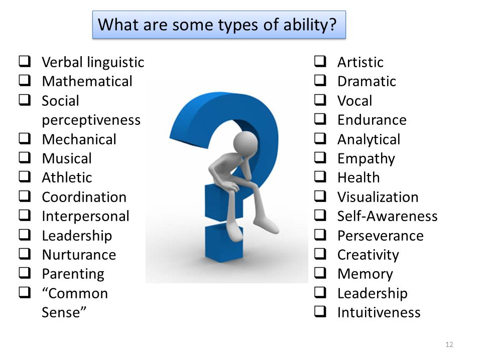  Verbal linguistic  Mathematical  Social perceptiveness  Mechanical  Musical  Athletic  Coordination  Interpersonal  Leadership  Nurturance  Parenting  Common Sense  Artistic  Dramatic  Vocal  Endurance  Analytical  Empathy  Health  Visualization  Self-Awareness  Perseverance  Creativity  Memory  Leadership  Intuitiveness What are some types of ability.