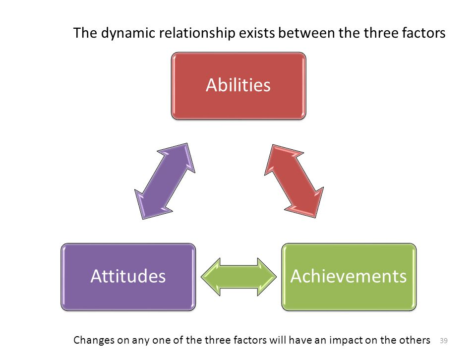 AbilitiesAchievementsAttitudes The dynamic relationship exists between the three factors Changes on any one of the three factors will have an impact on the others 39