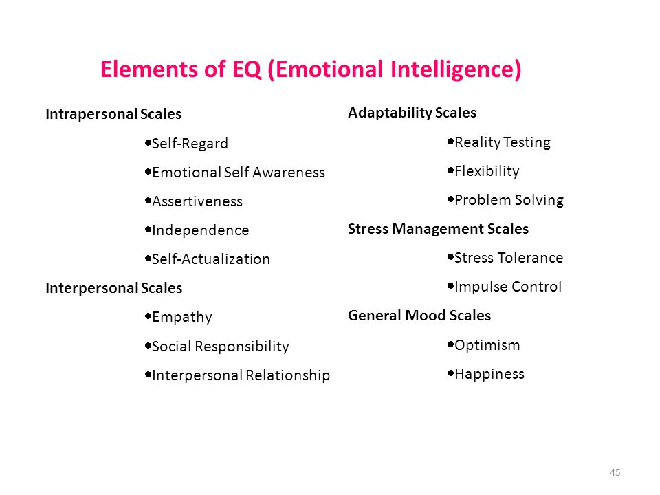Intrapersonal Scales  Self-Regard  Emotional Self Awareness  Assertiveness  Independence  Self-Actualization Interpersonal Scales  Empathy  Social Responsibility  Interpersonal Relationship Adaptability Scales  Reality Testing  Flexibility  Problem Solving Stress Management Scales  Stress Tolerance  Impulse Control General Mood Scales  Optimism  Happiness Elements of EQ (Emotional Intelligence) 45
