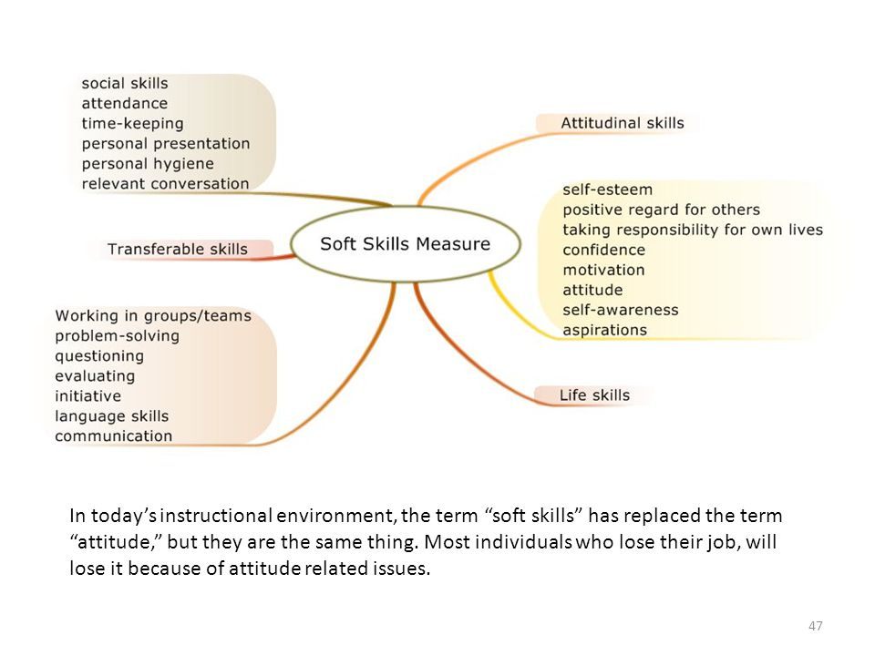 In today's instructional environment, the term soft skills has replaced the term attitude, but they are the same thing.