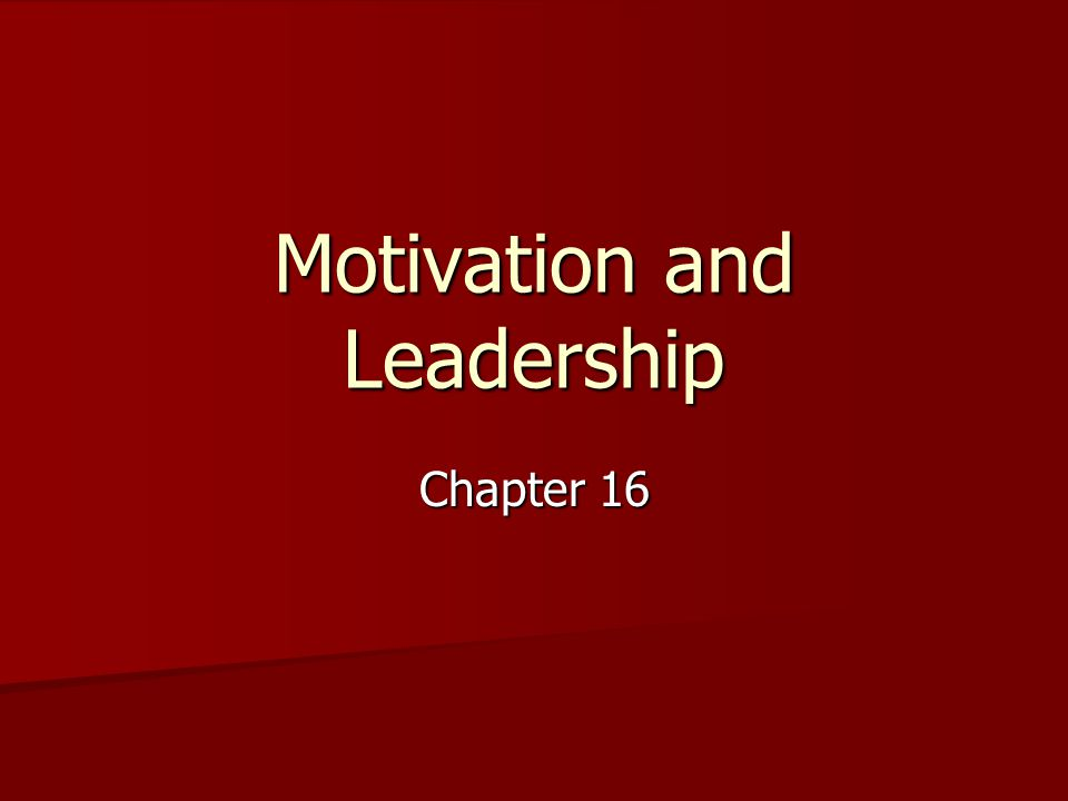 Motivation and Leadership Chapter 16