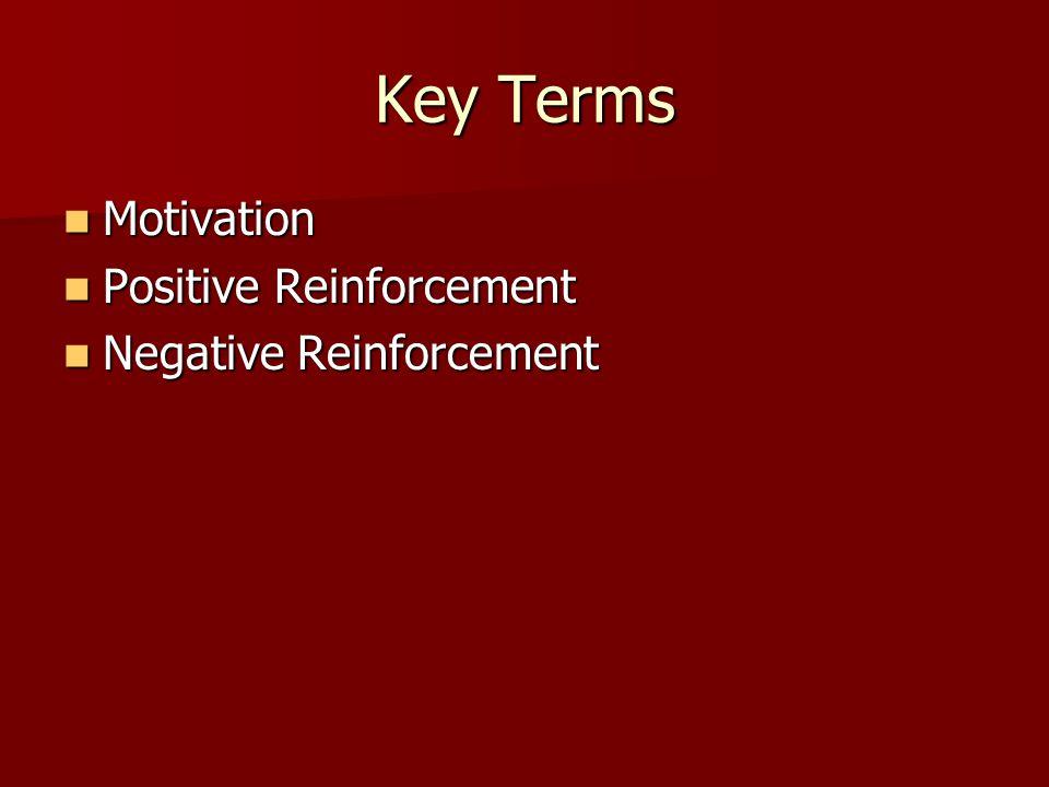 Key Terms Motivation Motivation Positive Reinforcement Positive Reinforcement Negative Reinforcement Negative Reinforcement