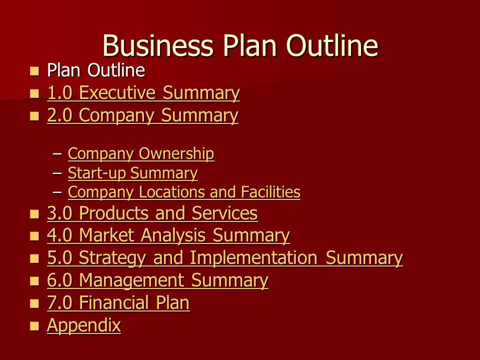 Business Plan Outline Plan Outline Plan Outline 1.0 Executive Summary 1.0 Executive Summary 1.0 Executive Summary 1.0 Executive Summary 2.0 Company Su