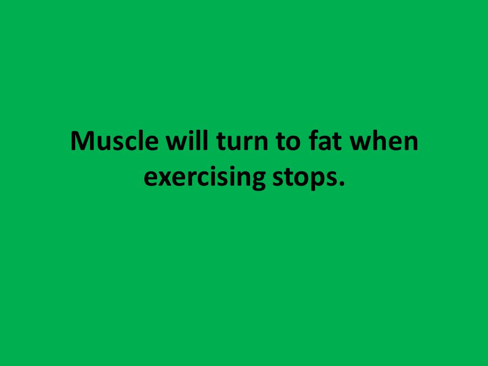 Muscle will turn to fat when exercising stops.