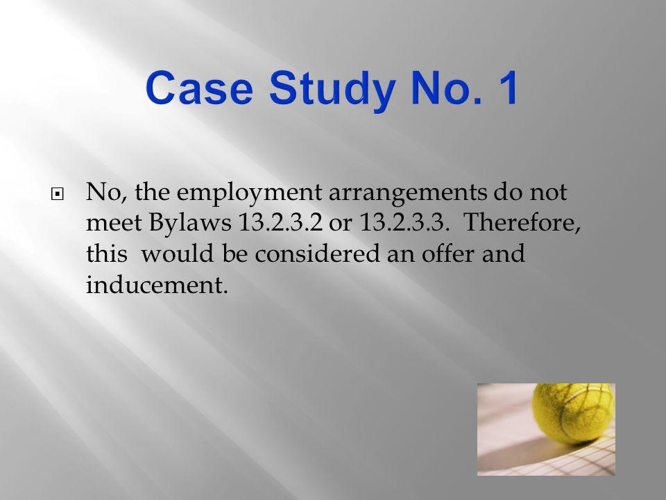  No, the employment arrangements do not meet Bylaws 13.2.3.2 or 13.2.3.3.