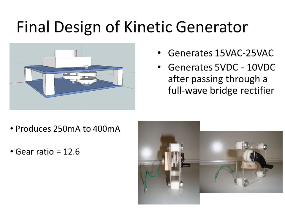 Final Design of Kinetic Generator Generates 15VAC-25VAC Generates 5VDC - 10VDC after passing through a full-wave bridge rectifier Produces 250mA to 400mA Gear ratio = 12.6