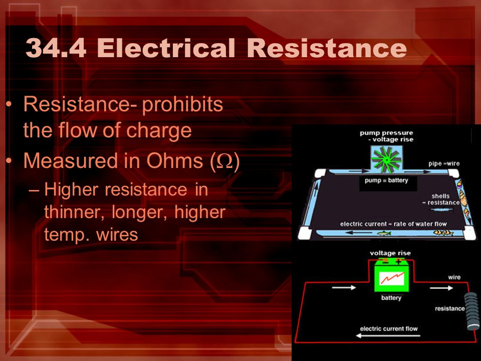 34.4 Electrical Resistance Resistance- prohibits the flow of charge Measured in Ohms (  ) –Higher resistance in thinner, longer, higher temp.
