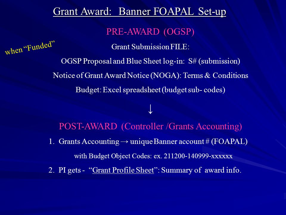 PRE-AWARD (OGSP) Grant Submission FILE: OGSP Proposal and Blue Sheet log-in: S# (submission) Notice of Grant Award Notice (NOGA): Terms & Conditions B