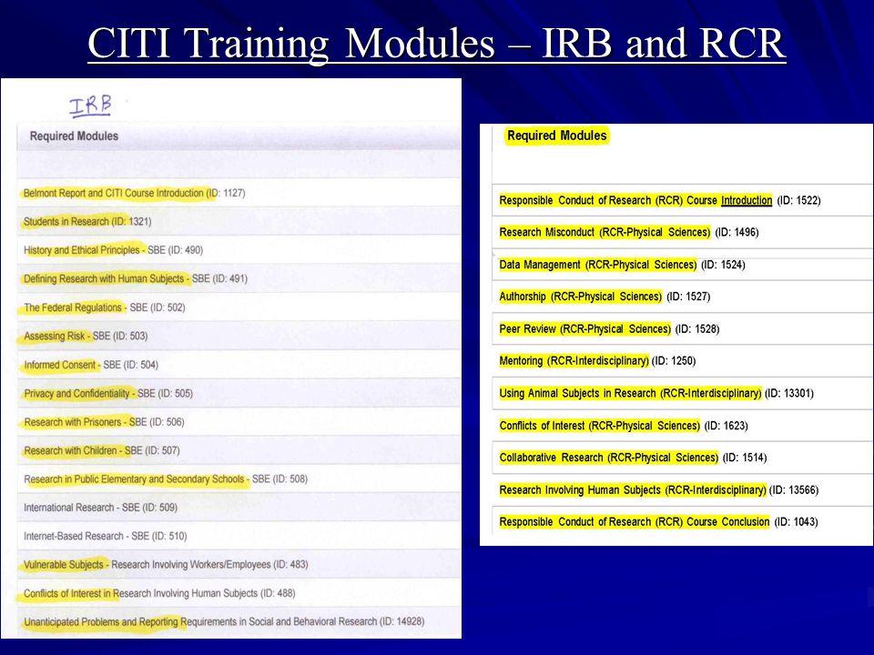 CITI Training Modules – IRB and RCR
