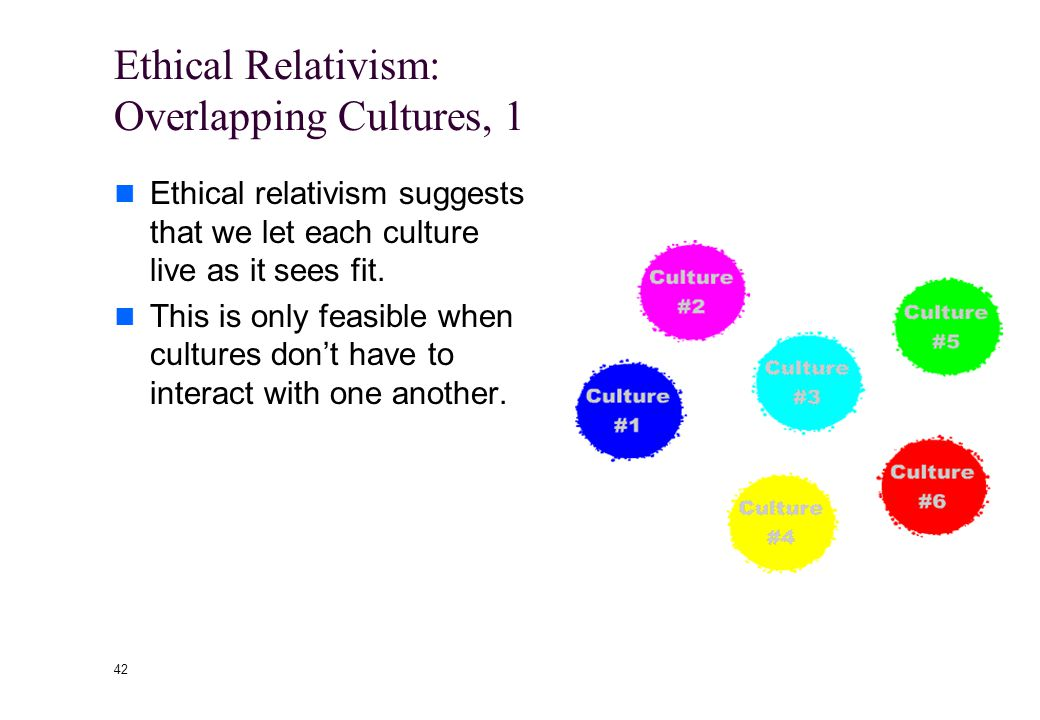 41 Ethical Relativism: Limitations Presupposes an epistemological solipsism* Is unhelpful in dealing with overlaps of cultures--precisely where we nee
