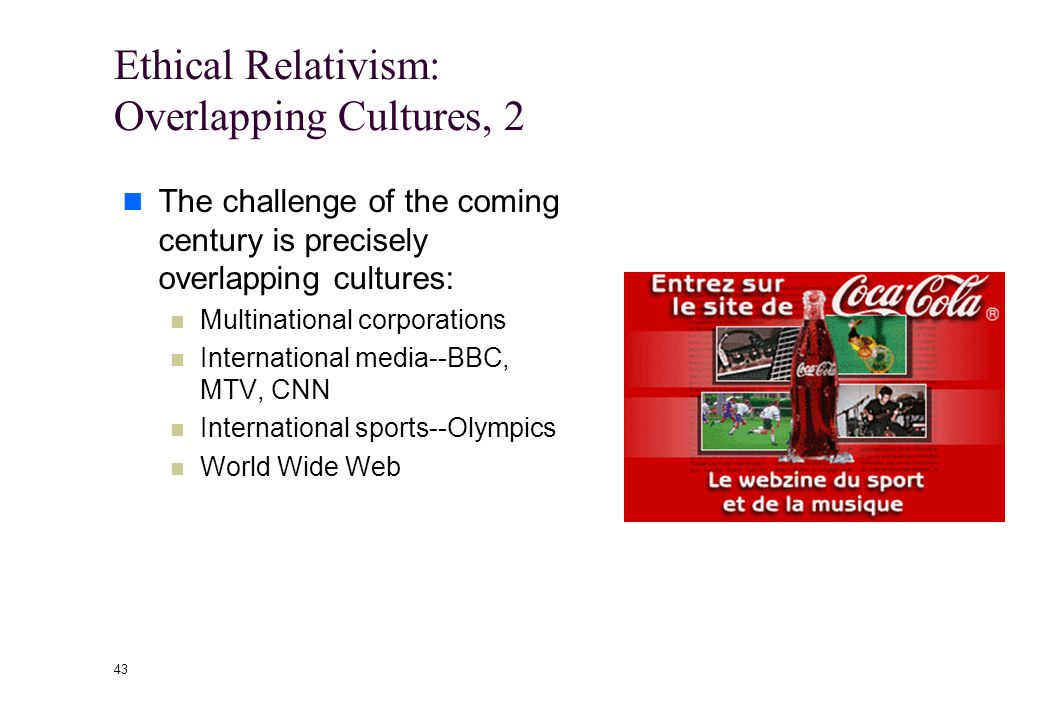 42 Ethical Relativism: Overlapping Cultures, 1 Ethical relativism suggests that we let each culture live as it sees fit.
