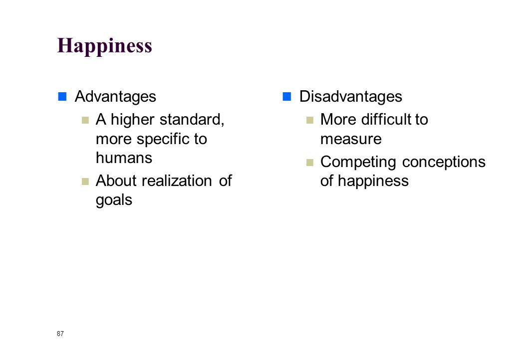 86 John Stuart Mill 1806-1873 Bentham's godson Believed that happiness, not pleasure, should be the standard of utility.