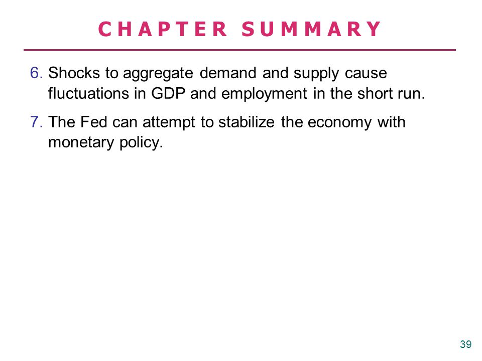 CHAPTER SUMMARY 6. Shocks to aggregate demand and supply cause fluctuations in GDP and employment in the short run. 7.The Fed can attempt to stabilize