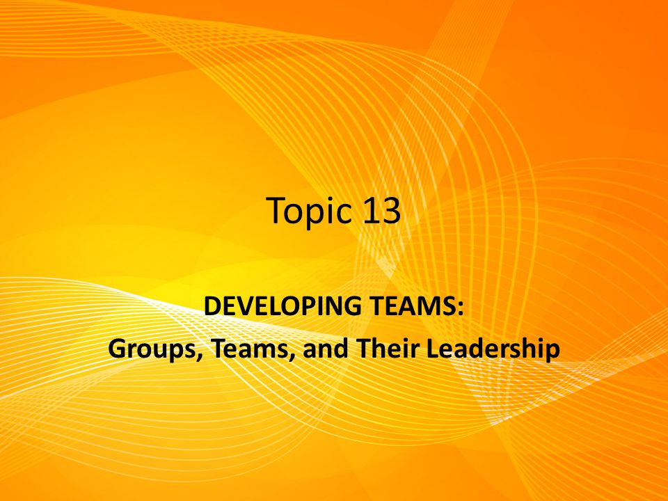 Topic 13 DEVELOPING TEAMS: Groups, Teams, and Their Leadership