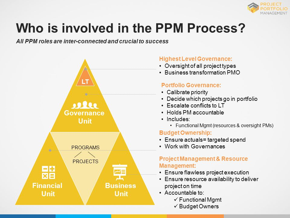 Who is involved in the PPM Process? All PPM roles are inter-connected and crucial to success PROGRAMS PROJECTS Highest Level Governance: Oversight of
