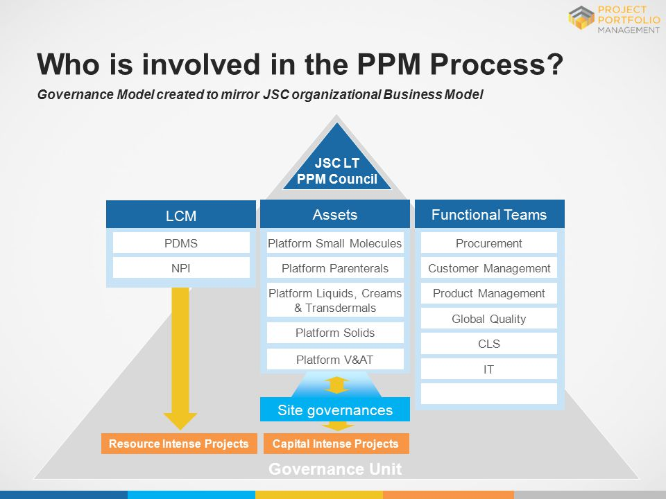 Governance Model created to mirror JSC organizational Business Model Who is involved in the PPM Process? Governance Unit JSC LT PPM Council Resource I