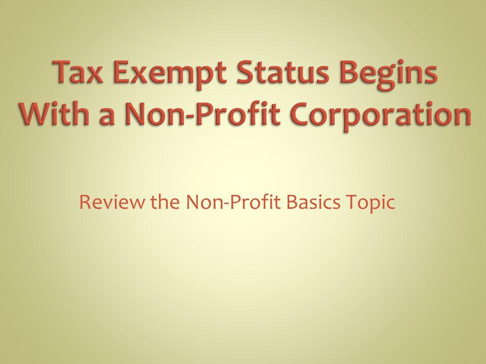 Review the Non-Profit Basics Topic