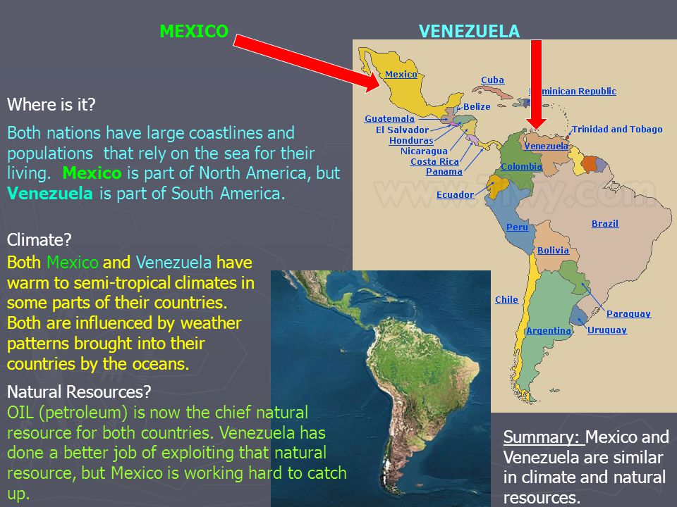Where is it? MEXICOVENEZUELA Both nations have large coastlines and populations that rely on the sea for their living. Mexico is part of North America