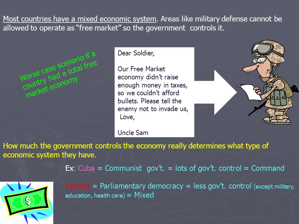 "Most countries have a mixed economic system. Areas like military defense cannot be allowed to operate as ""free market"" so the government controls it."