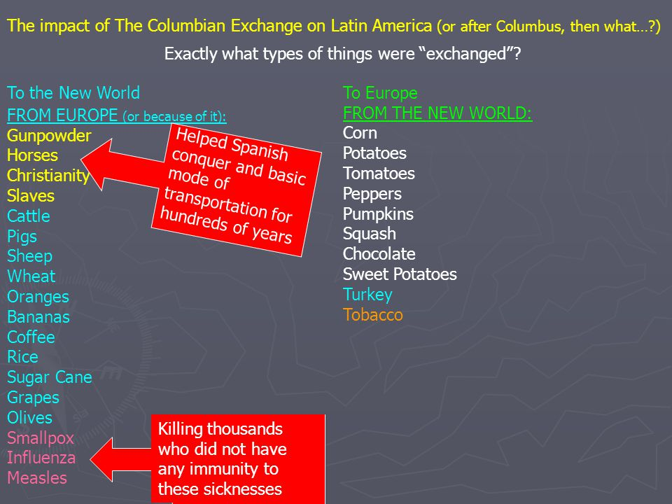 "The impact of The Columbian Exchange on Latin America (or after Columbus, then what…?) Exactly what types of things were ""exchanged""? FROM EUROPE (or"