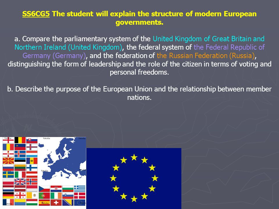 SS6CG5 The student will explain the structure of modern European governments. a. Compare the parliamentary system of the United Kingdom of Great Brita