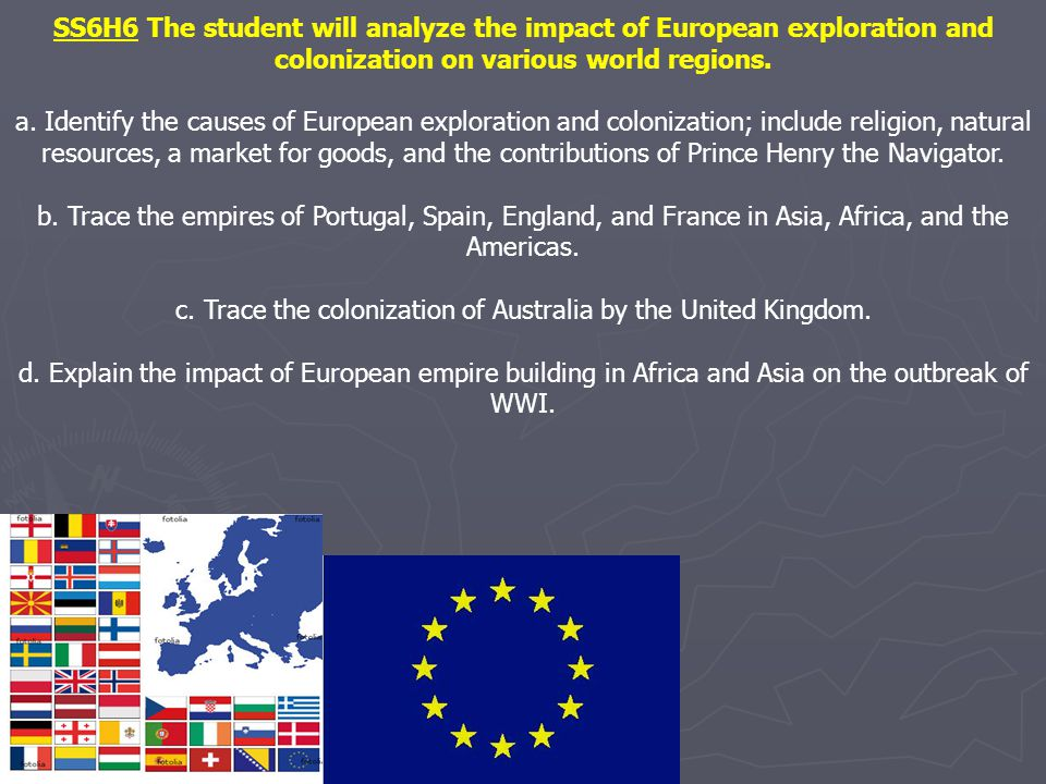 SS6H6 The student will analyze the impact of European exploration and colonization on various world regions.