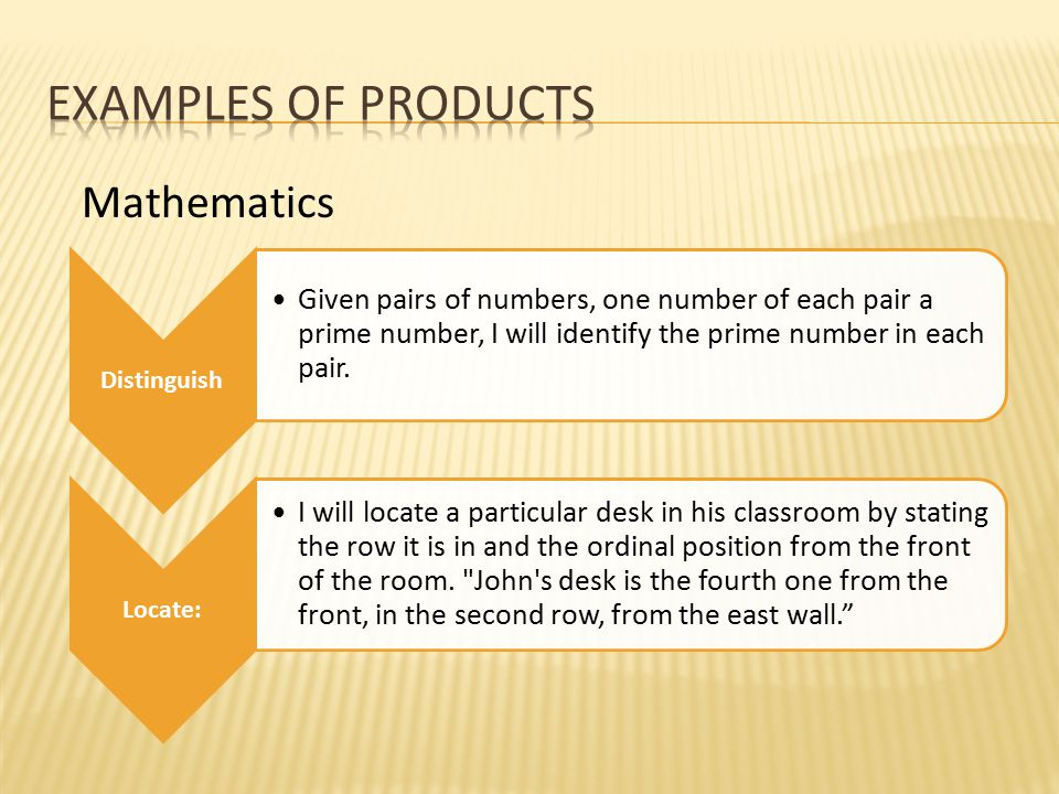 Distinguish Given pairs of numbers, one number of each pair a prime number, I will identify the prime number in each pair. Locate: I will locate a par
